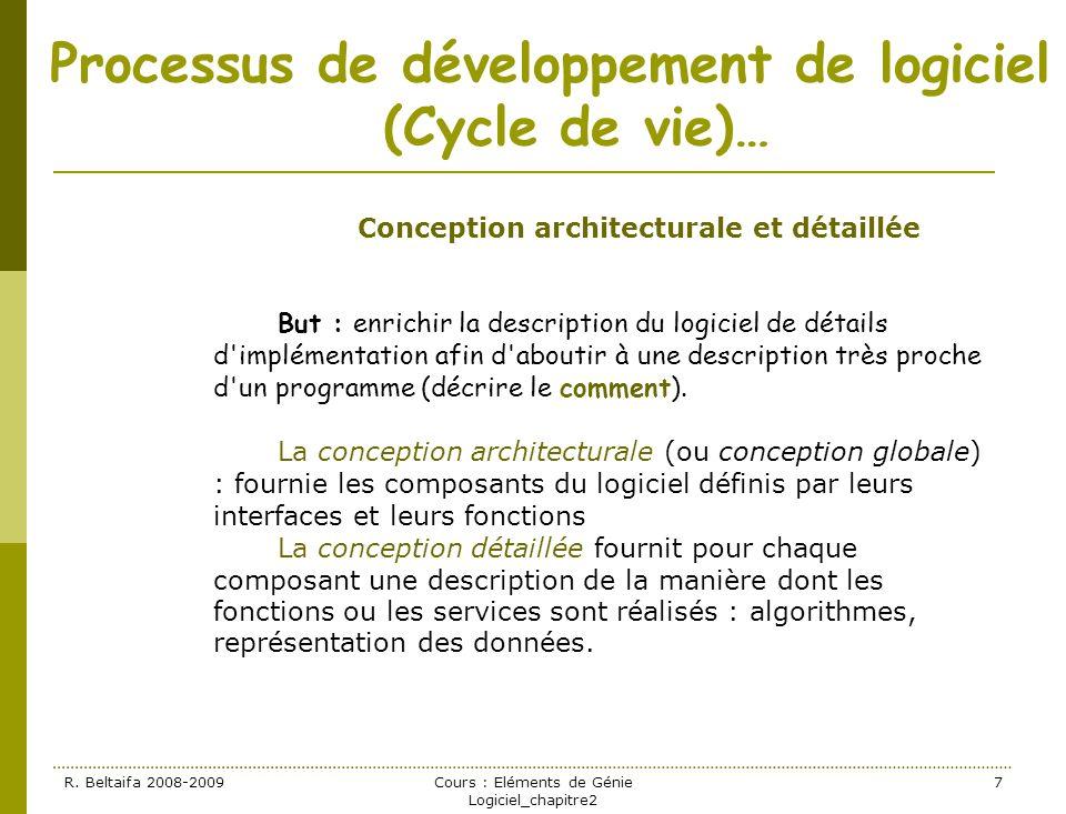 R. Beltaifa 2008-2009Cours : Eléments de Génie Logiciel_chapitre2 7 Processus de développement de logiciel (Cycle de vie)… Conception architecturale e
