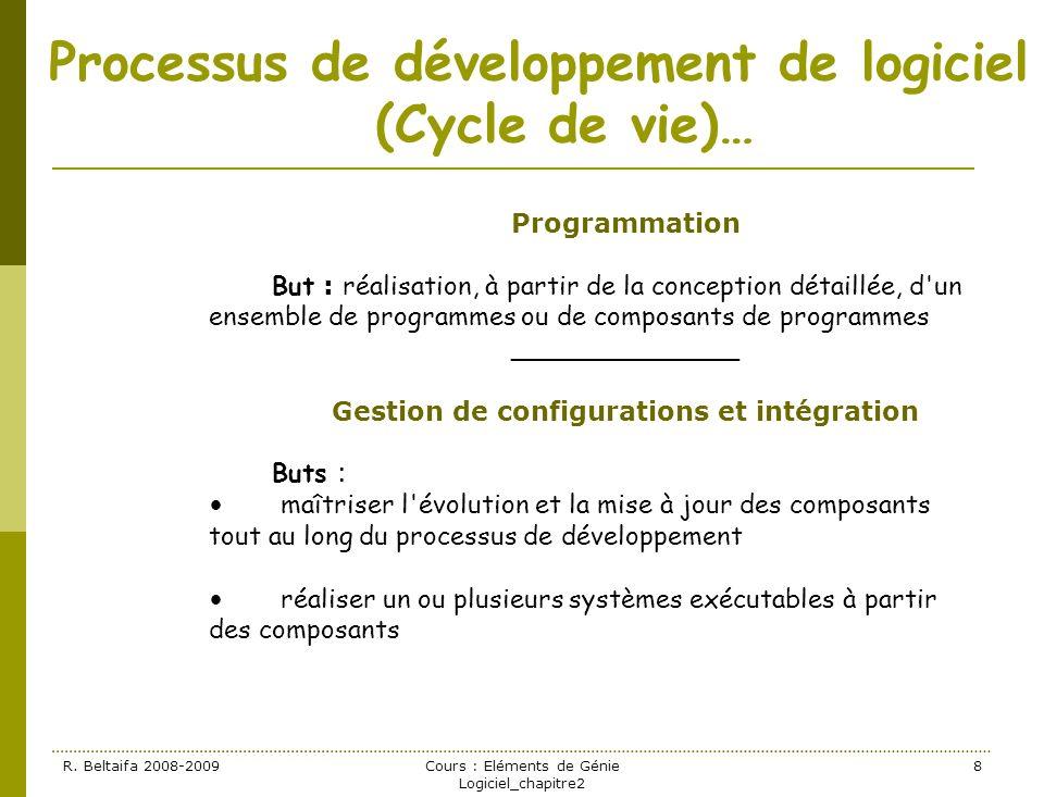 R. Beltaifa 2008-2009Cours : Eléments de Génie Logiciel_chapitre2 8 Processus de développement de logiciel (Cycle de vie)… Programmation But : réalisa