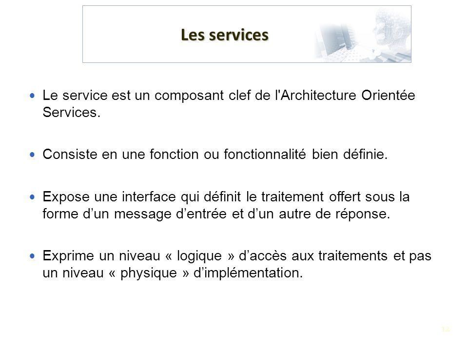 12 Les services Le service est un composant clef de l'Architecture Orientée Services. Consiste en une fonction ou fonctionnalité bien définie. Expose