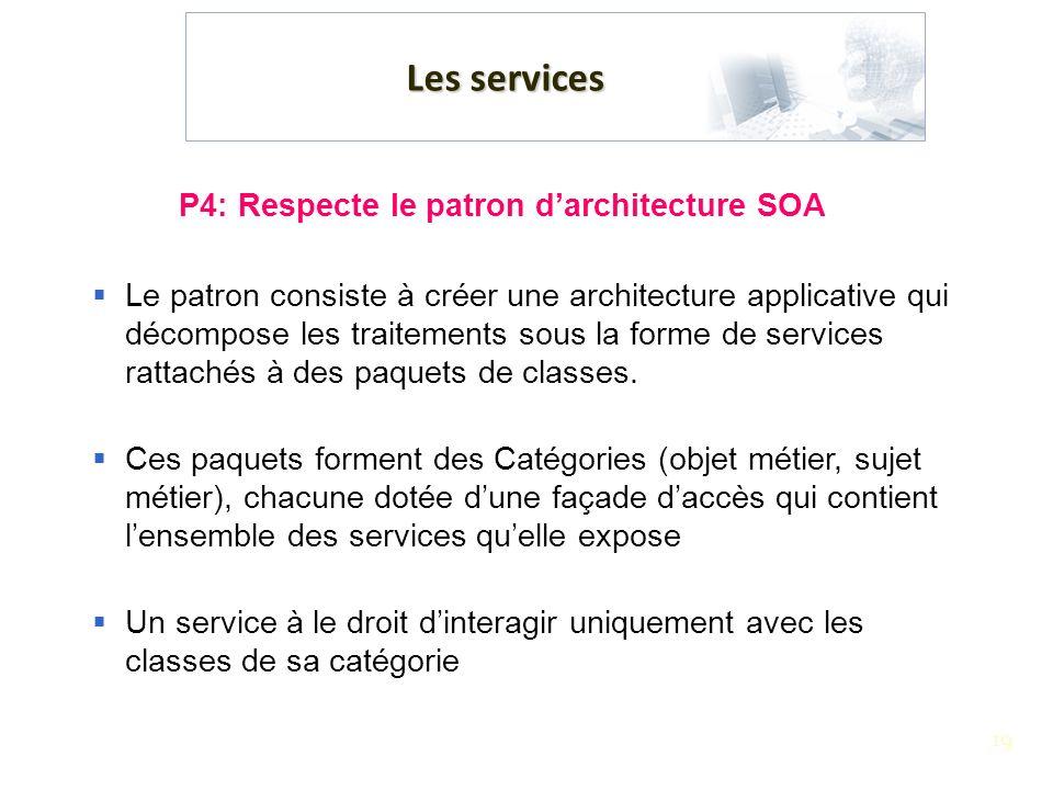 19 Les services P4: Respecte le patron darchitecture SOA Le patron consiste à créer une architecture applicative qui décompose les traitements sous la