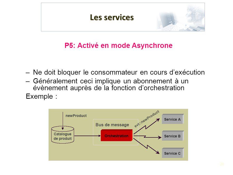 21 Les services P5: Activé en mode Asynchrone –Ne doit bloquer le consommateur en cours dexécution –Généralement ceci implique un abonnement à un évèn
