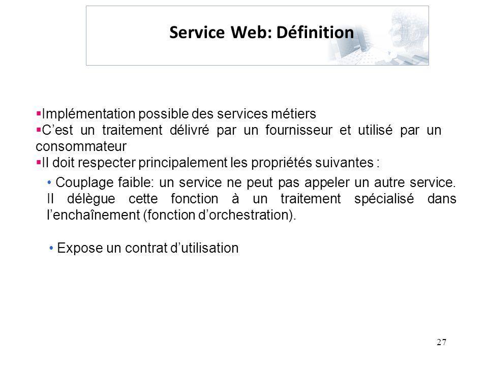 27 Service Web: Définition Implémentation possible des services métiers Cest un traitement délivré par un fournisseur et utilisé par un consommateur I
