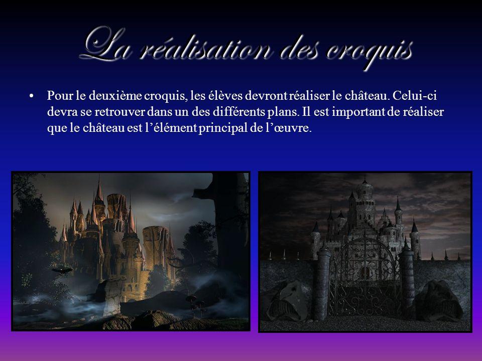La réalisation des croquis Pour le deuxième croquis, les élèves devront réaliser le château.