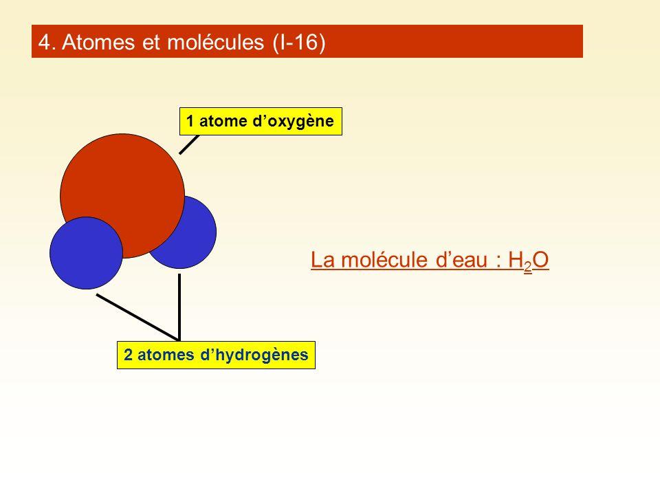 La molécule deau : H 2 O 1 atome doxygène 2 atomes dhydrogènes 4. Atomes et molécules (I-16)