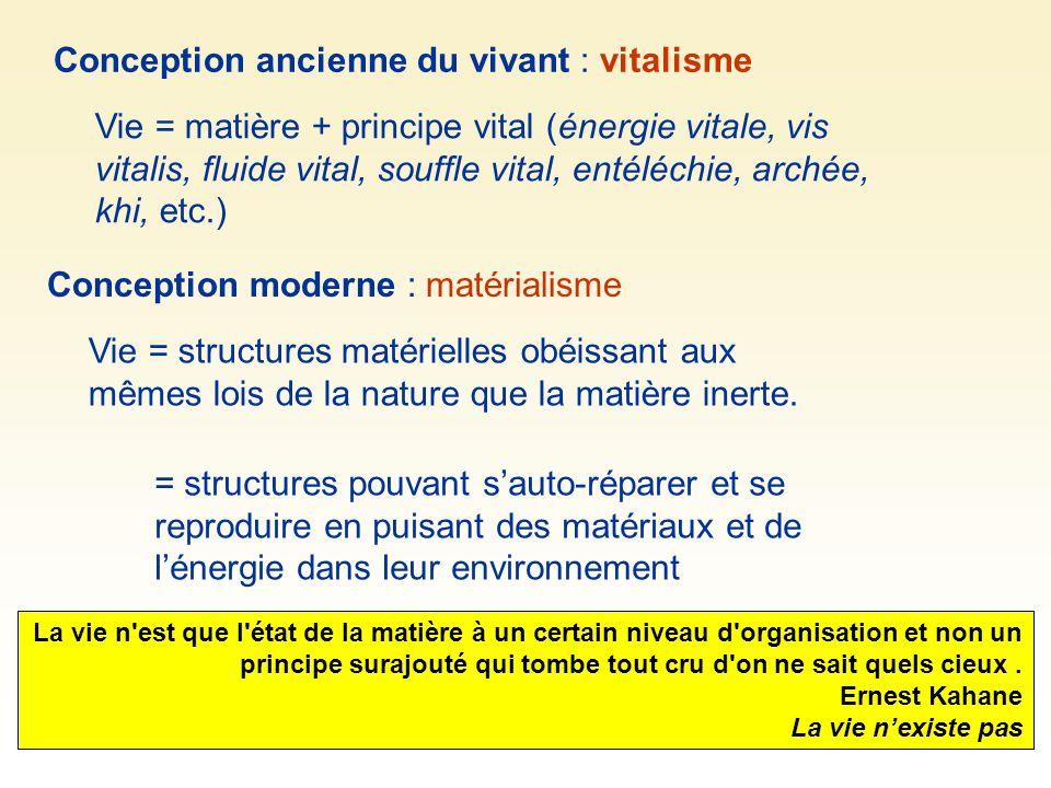 Conception ancienne du vivant : vitalisme Vie = matière + principe vital (énergie vitale, vis vitalis, fluide vital, souffle vital, entéléchie, archée