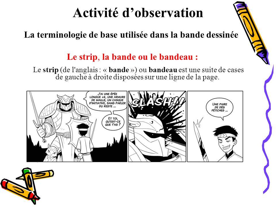 La terminologie de base utilisée dans la bande dessinée Le strip, la bande ou le bandeau : Le strip (de l'anglais : « bande ») ou bandeau est une suit