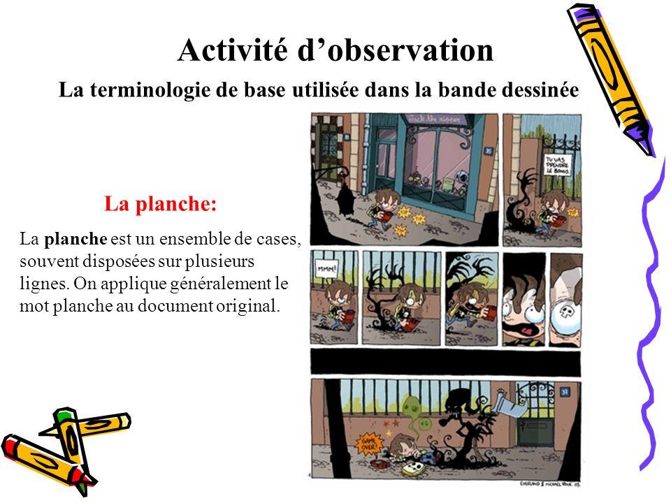 Activité dobservation La terminologie de base utilisée dans la bande dessinée La planche: La planche est un ensemble de cases, souvent disposées sur p