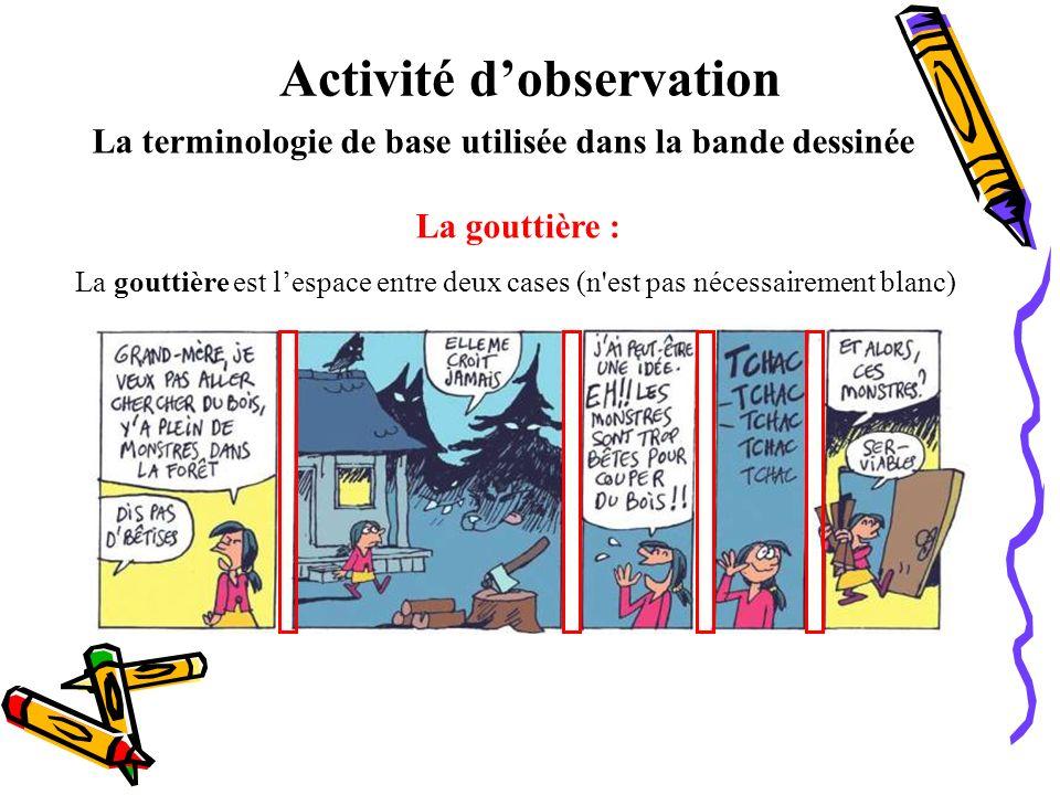 Activité dobservation La terminologie de base utilisée dans la bande dessinée La gouttière : La gouttière est lespace entre deux cases (n'est pas néce