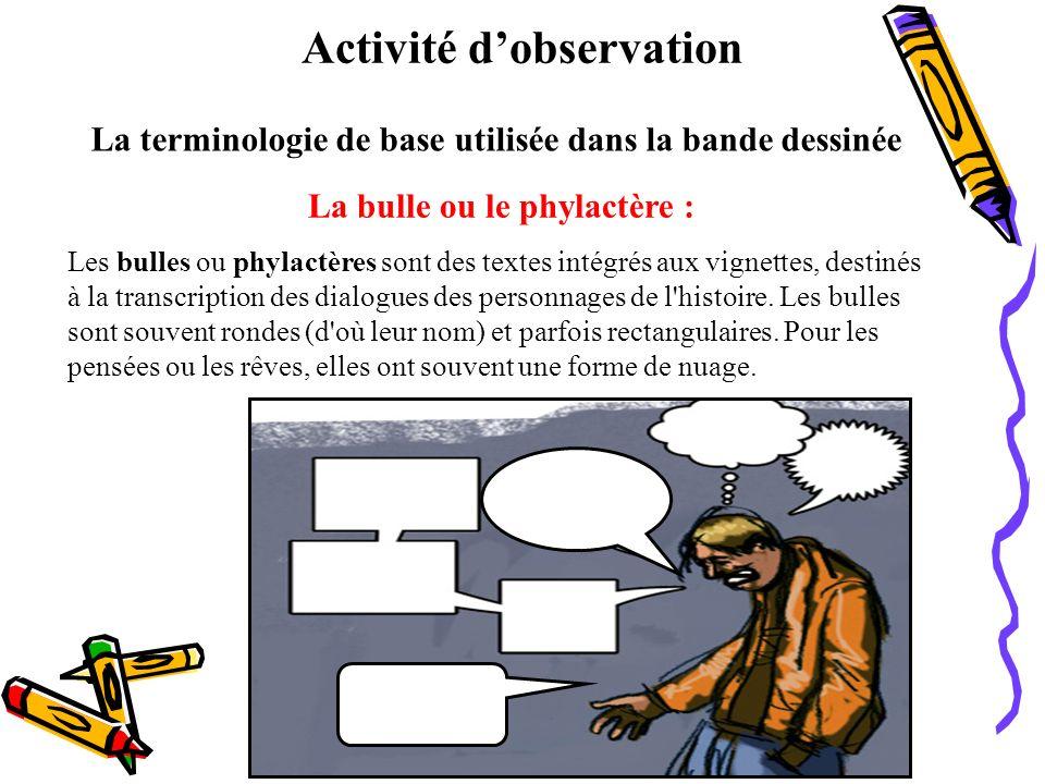 Activité dobservation La terminologie de base utilisée dans la bande dessinée Lindice : Lindice de la bulle désigne le personnage qui parle.