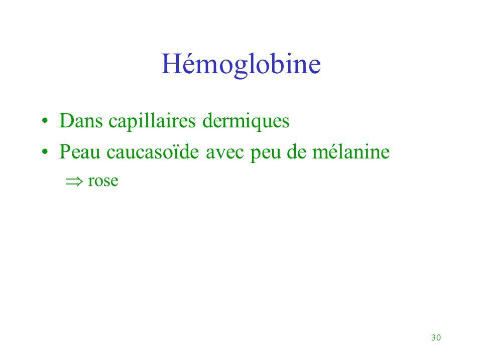 30 Hémoglobine Dans capillaires dermiques Peau caucasoïde avec peu de mélanine rose