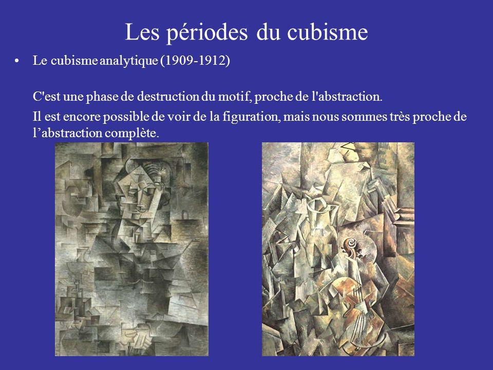 Les périodes du cubisme Le cubisme analytique (1909-1912) C'est une phase de destruction du motif, proche de l'abstraction. Il est encore possible de