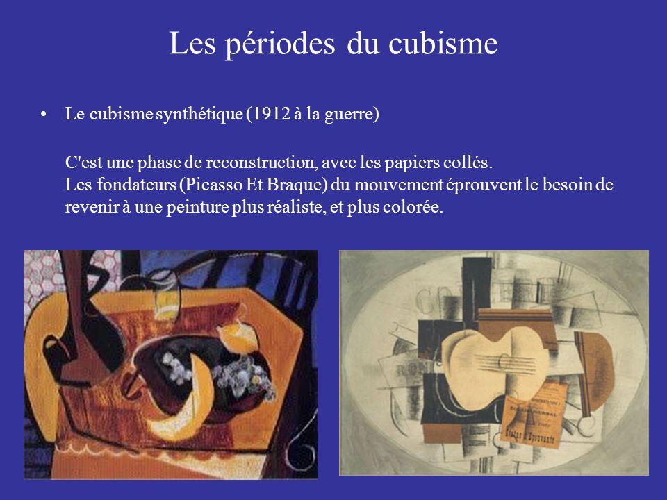 Les périodes du cubisme Le cubisme synthétique (1912 à la guerre) C'est une phase de reconstruction, avec les papiers collés. Les fondateurs (Picasso
