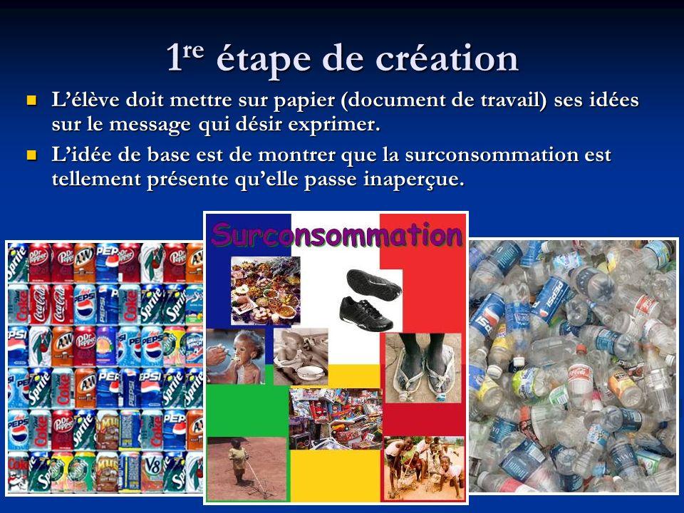 1 re étape de création Lélève doit mettre sur papier (document de travail) ses idées sur le message qui désir exprimer.