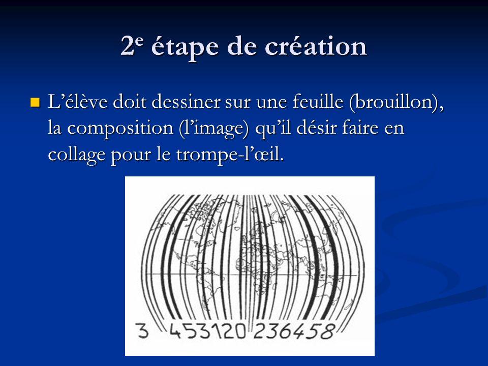 2 e étape de création Lélève doit dessiner sur une feuille (brouillon), la composition (limage) quil désir faire en collage pour le trompe-lœil.