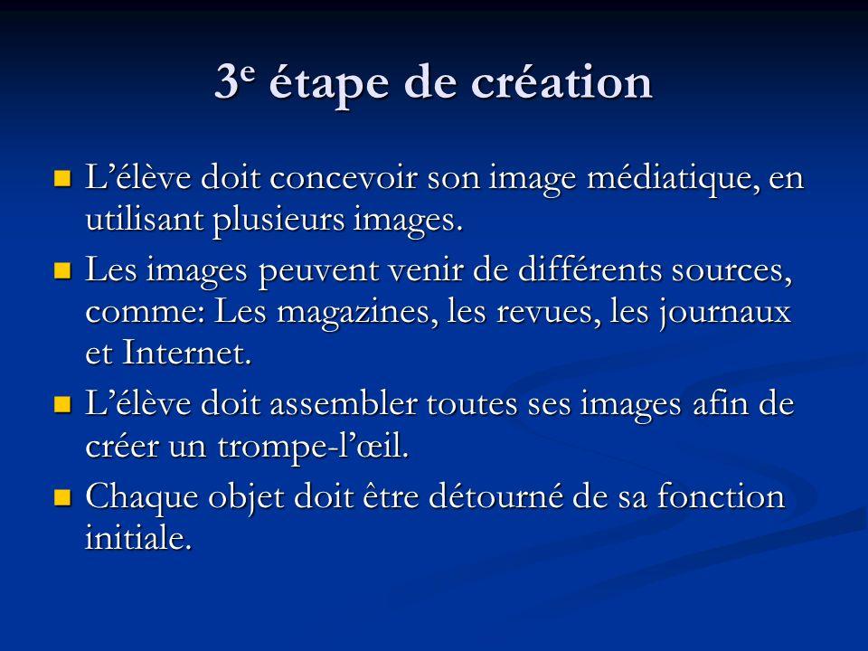 3 e étape de création Lélève doit concevoir son image médiatique, en utilisant plusieurs images.