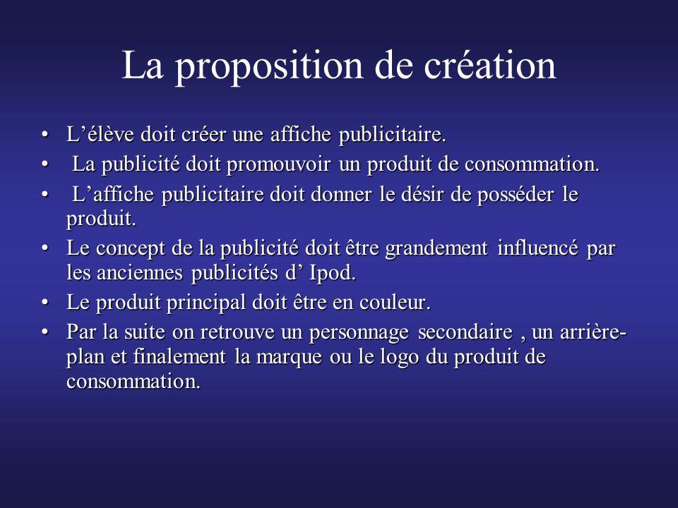 La proposition de création Lélève doit créer une affiche publicitaire.Lélève doit créer une affiche publicitaire. La publicité doit promouvoir un prod