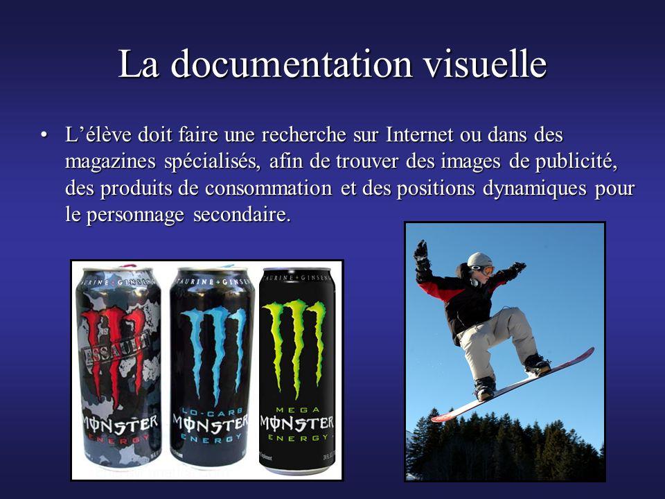 La documentation visuelle Lélève doit faire une recherche sur Internet ou dans des magazines spécialisés, afin de trouver des images de publicité, des