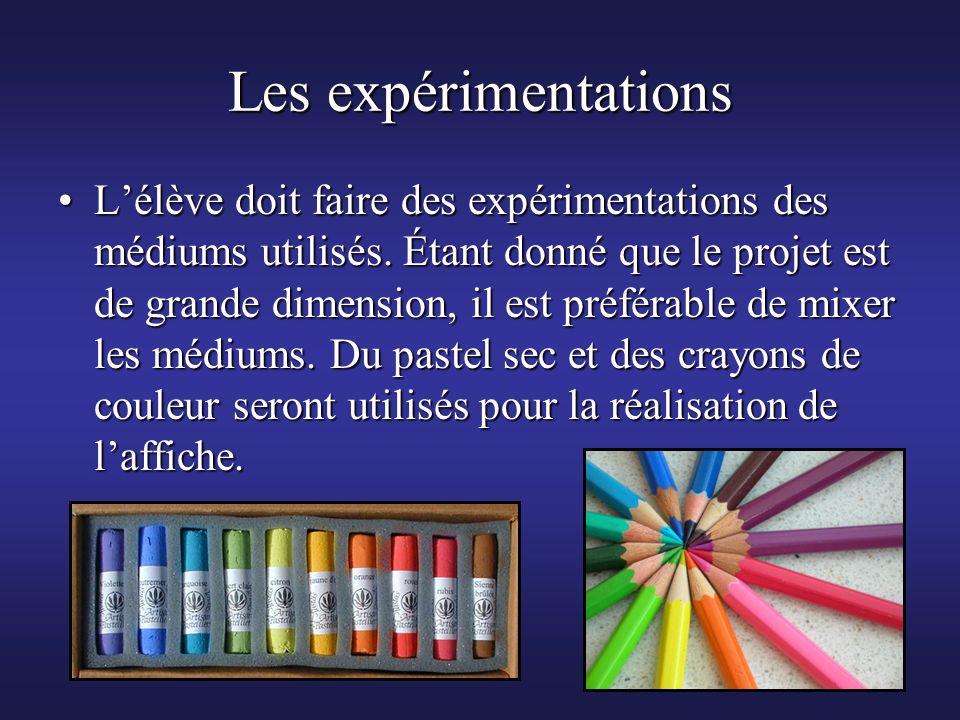 Les expérimentations Lélève doit faire des expérimentations des médiums utilisés. Étant donné que le projet est de grande dimension, il est préférable