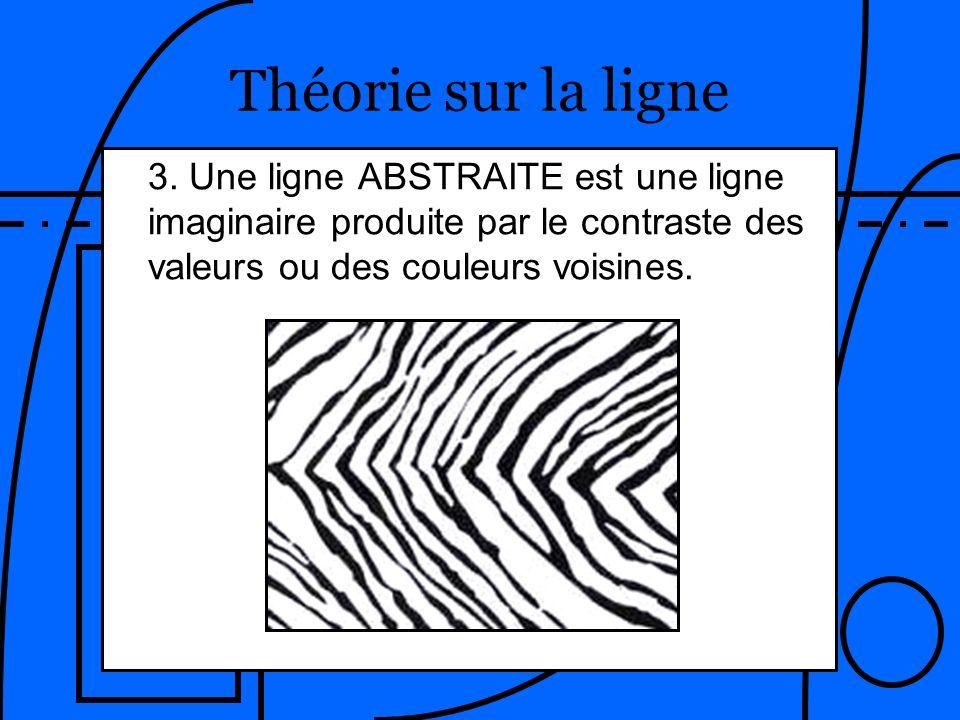 Théorie sur la ligne 3. Une ligne ABSTRAITE est une ligne imaginaire produite par le contraste des valeurs ou des couleurs voisines.