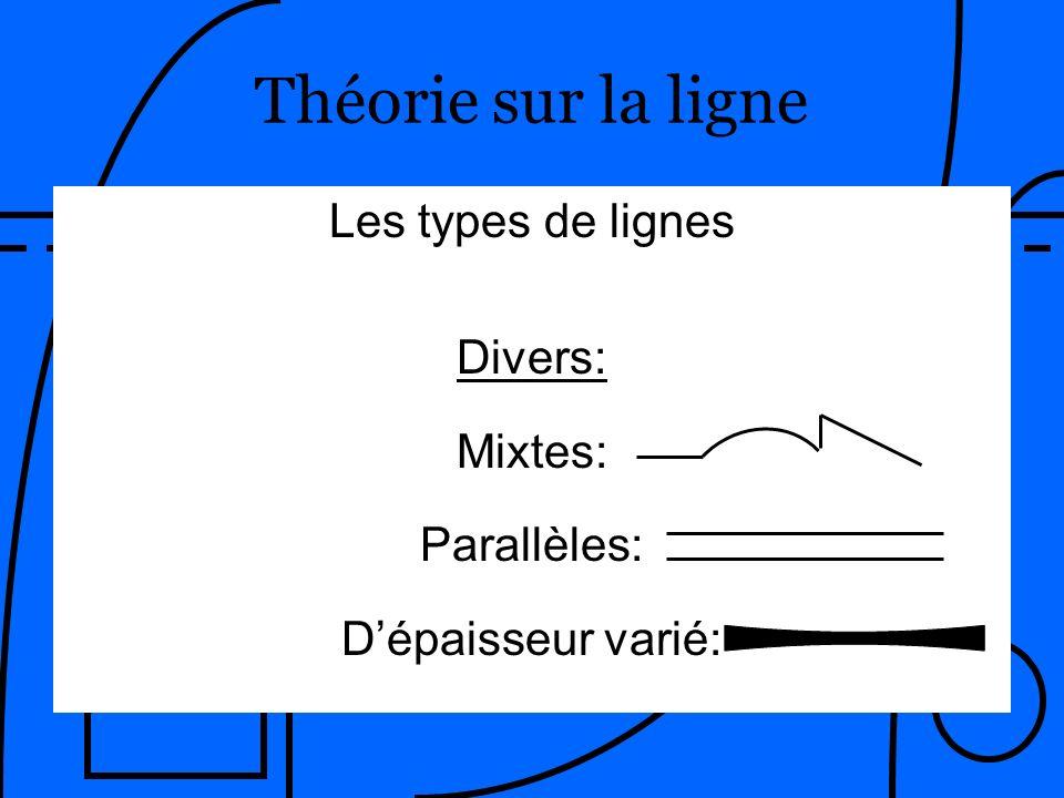 Par: Patrick Langlois Secondarts.com Les types de lignes Divers: Mixtes: Parallèles: Dépaisseur varié: Théorie sur la ligne
