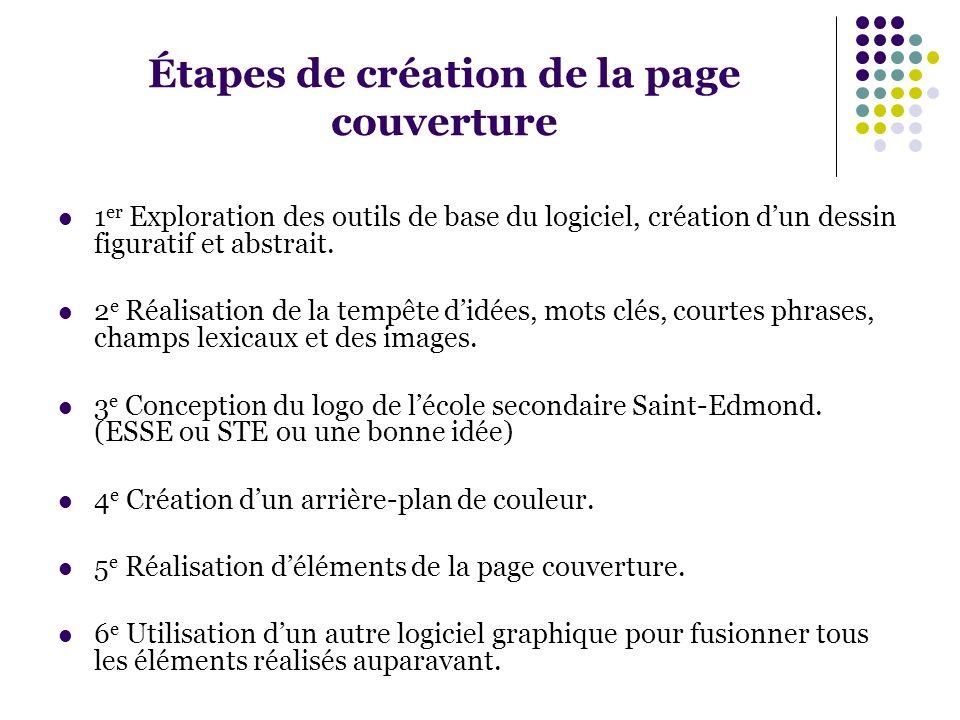 Étapes de création de la page couverture 1 er Exploration des outils de base du logiciel, création dun dessin figuratif et abstrait. 2 e Réalisation d
