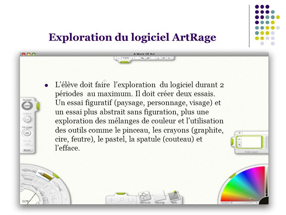 Exploration du logiciel ArtRage Lélève doit faire lexploration du logiciel durant 2 périodes au maximum. Il doit créer deux essais. Un essai figuratif