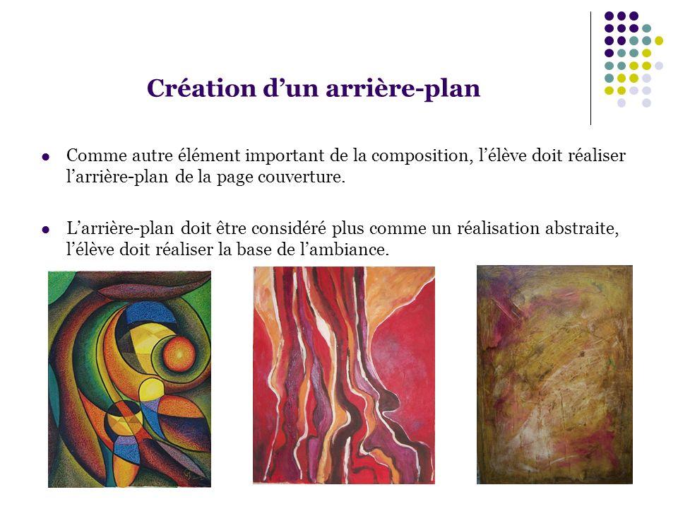 Création dun arrière-plan Comme autre élément important de la composition, lélève doit réaliser larrière-plan de la page couverture. Larrière-plan doi