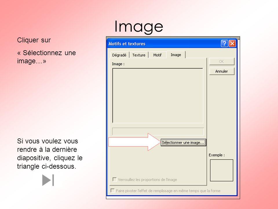 Image Cliquer sur « Sélectionnez une image…» Si vous voulez vous rendre à la dernière diapositive, cliquez le triangle ci-dessous.