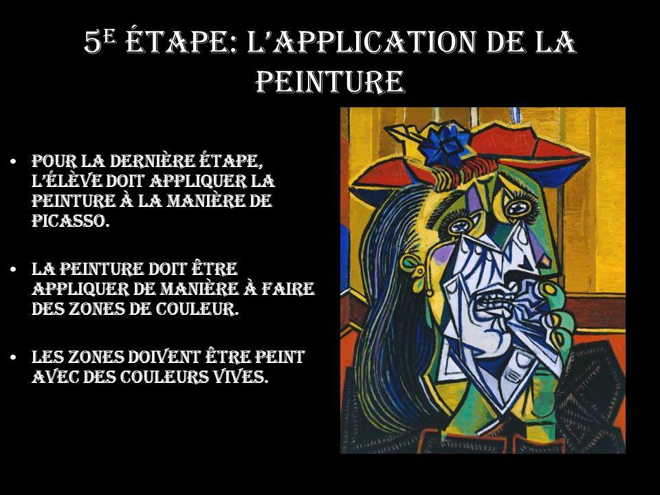 5 e étape: Lapplication de la peinture Pour la dernière étape, lélève doit appliquer la peinture à la manière de Picasso.