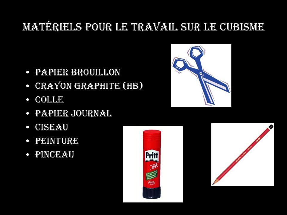 Matériels pour le travail sur le cubisme Papier brouillon Crayon graphite (hb) Colle Papier journal Ciseau Peinture Pinceau