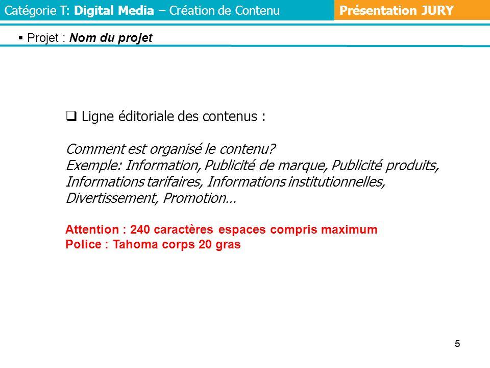 55 Ligne éditoriale des contenus : Comment est organisé le contenu.