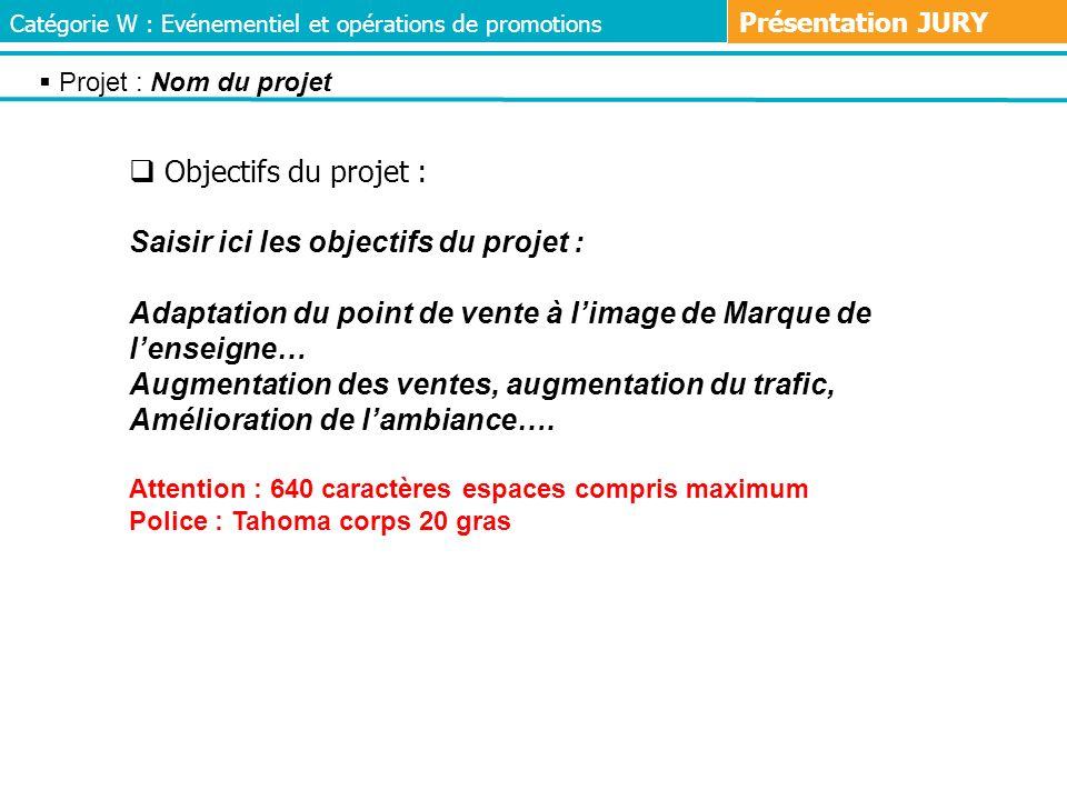 Objectifs du projet : Saisir ici les objectifs du projet : Adaptation du point de vente à limage de Marque de lenseigne… Augmentation des ventes, augm