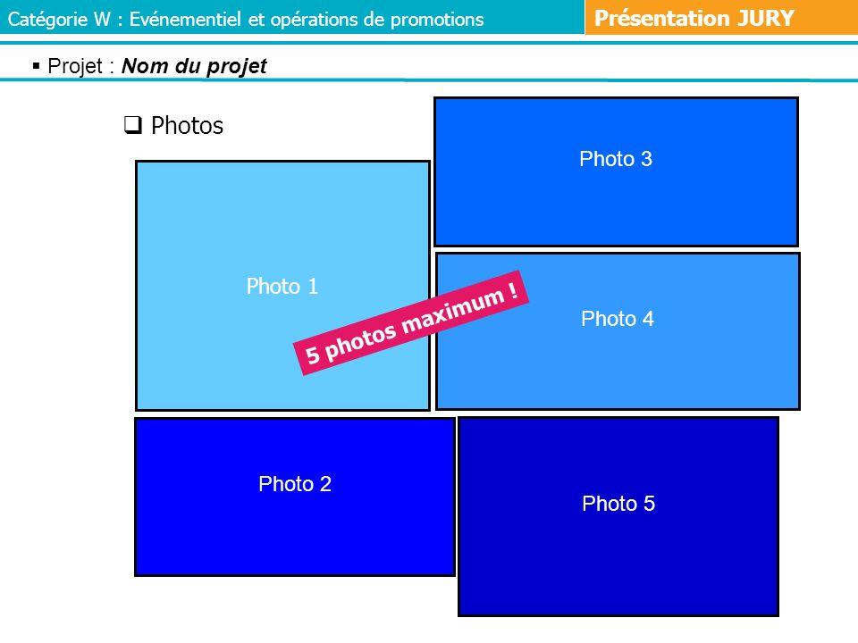 Photos Photo 3 Photo 1 Photo 5 Photo 2 Photo 4 5 photos maximum ! Projet : Nom du projet Catégorie W : Evénementiel et opérations de promotions Présen