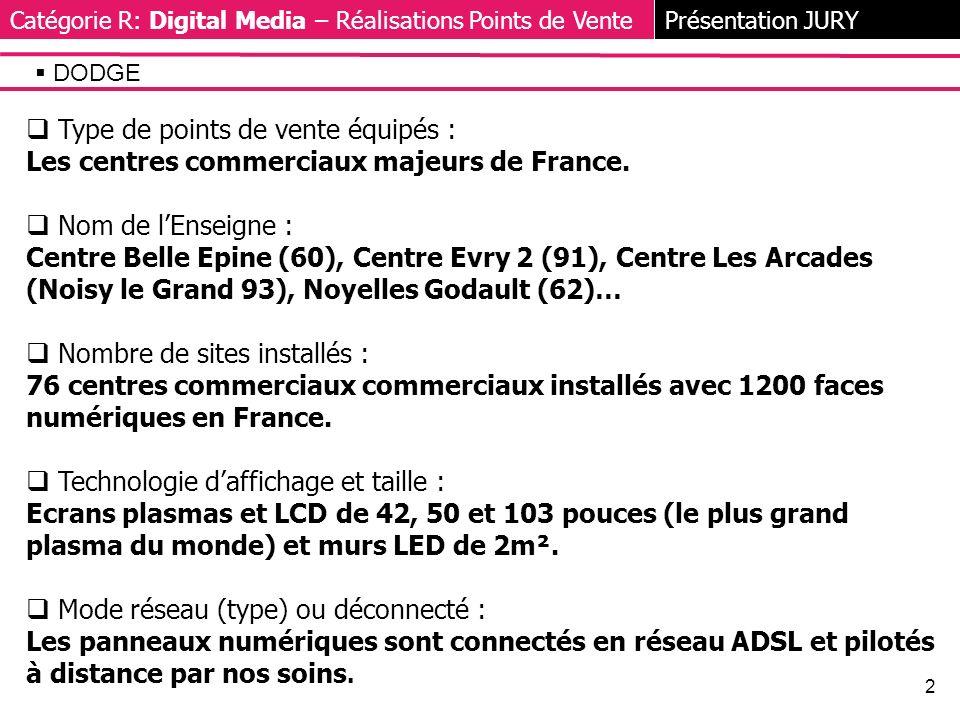 2 Type de points de vente équipés : Les centres commerciaux majeurs de France.