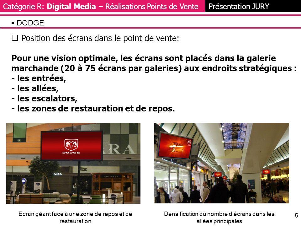 5 Position des écrans dans le point de vente: Pour une vision optimale, les écrans sont placés dans la galerie marchande (20 à 75 écrans par galeries) aux endroits stratégiques : - les entrées, - les allées, - les escalators, - les zones de restauration et de repos.