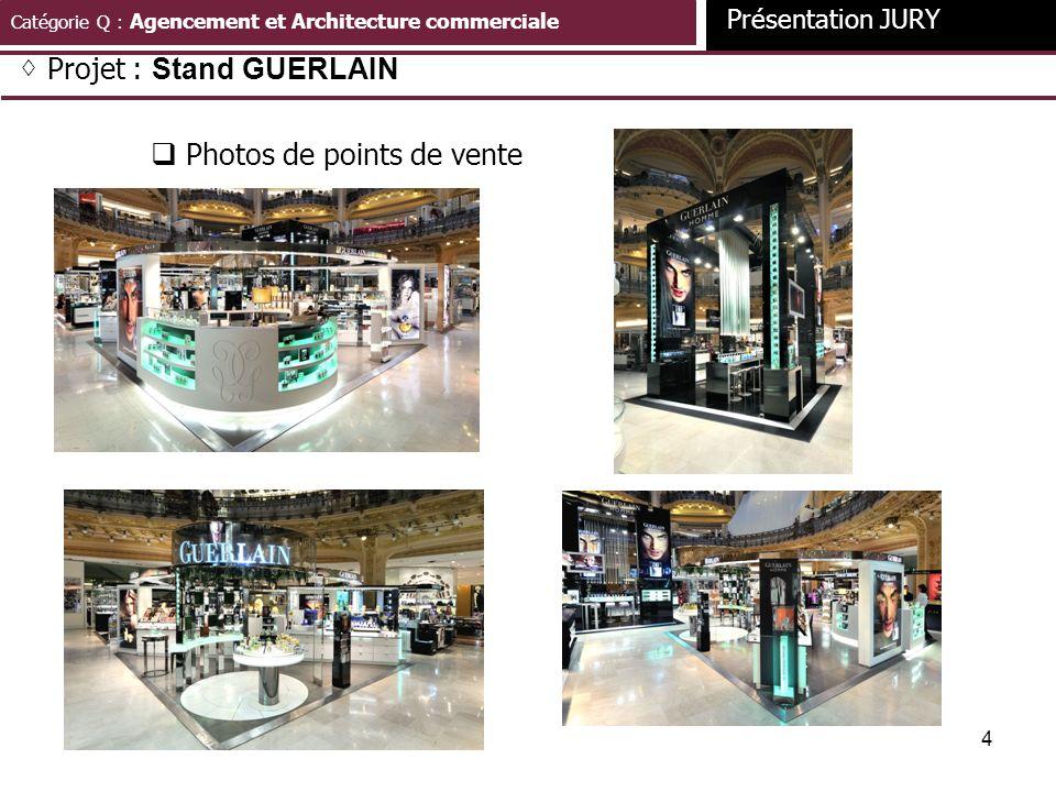 4 Catégorie Q : Agencement et Architecture commerciale Présentation JURY Projet : Stand GUERLAIN Photos de points de vente