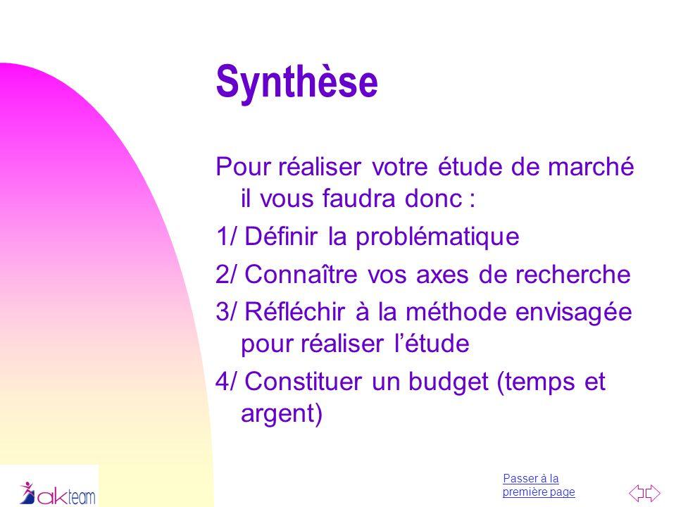 Passer à la première page Synthèse Pour réaliser votre étude de marché il vous faudra donc : 1/ Définir la problématique 2/ Connaître vos axes de rech