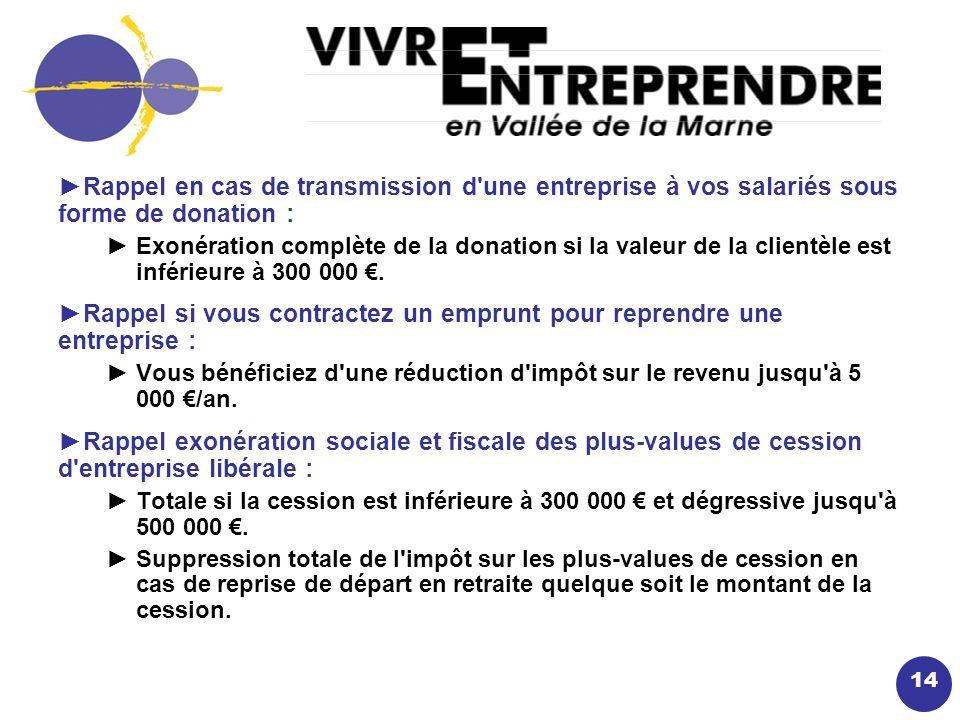 14 Rappel en cas de transmission d une entreprise à vos salariés sous forme de donation : Exonération complète de la donation si la valeur de la clientèle est inférieure à 300 000.