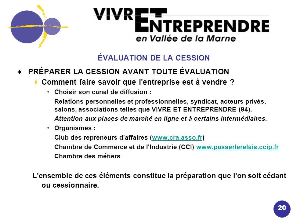 20 ÉVALUATION DE LA CESSION PRÉPARER LA CESSION AVANT TOUTE ÉVALUATION Comment faire savoir que l entreprise est à vendre .