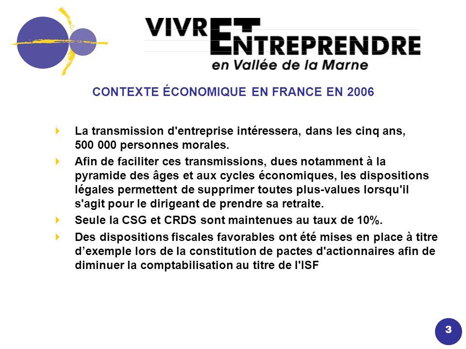 3 CONTEXTE ÉCONOMIQUE EN FRANCE EN 2006 La transmission d entreprise intéressera, dans les cinq ans, 500 000 personnes morales.