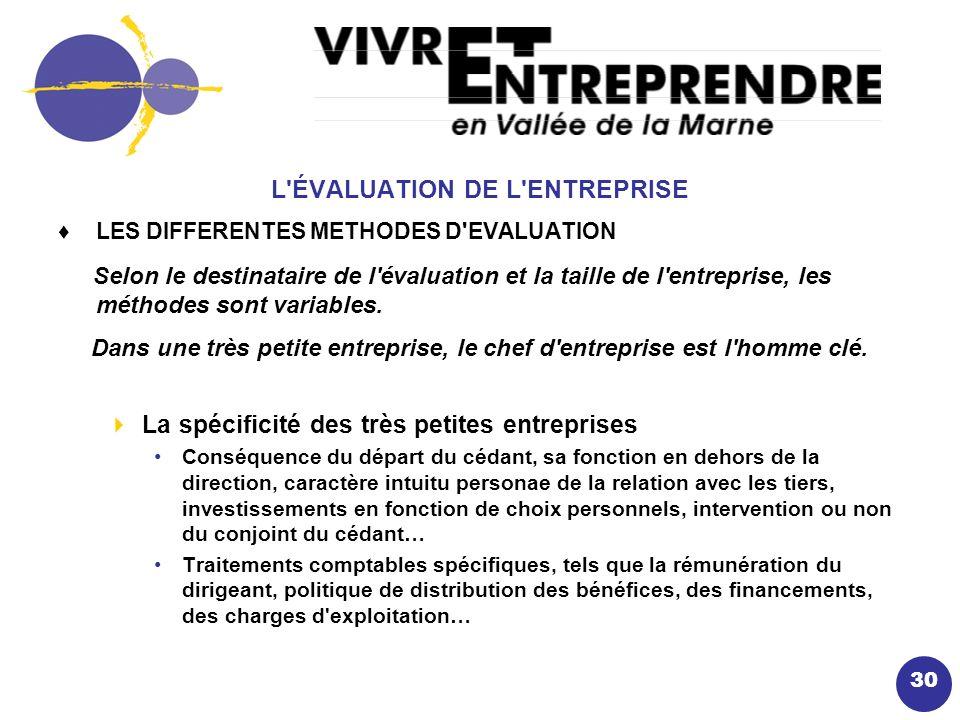 30 L ÉVALUATION DE L ENTREPRISE LES DIFFERENTES METHODES D EVALUATION Selon le destinataire de l évaluation et la taille de l entreprise, les méthodes sont variables.