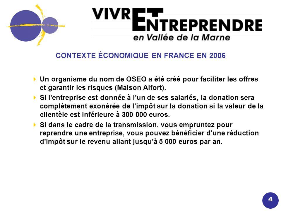 4 CONTEXTE ÉCONOMIQUE EN FRANCE EN 2006 Un organisme du nom de OSEO a été créé pour faciliter les offres et garantir les risques (Maison Alfort).