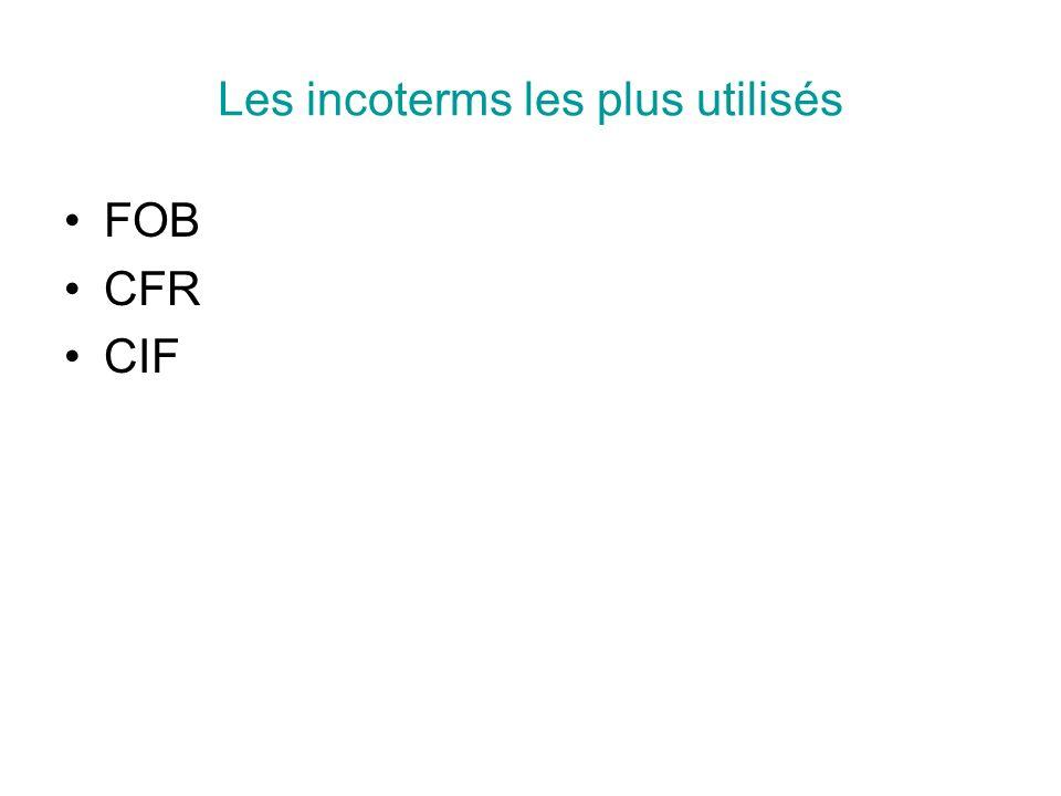 Les incoterms les plus utilisés FOB CFR CIF