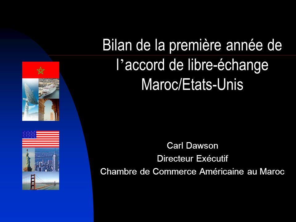 Chiffres Clefs 2006 En 2006 – la première année de la mise en oeuvre de lALE – les chiffres du commerce bilatéral Maroc/Etats Unis étaient parlants : – Le commerce bilatéral sélevait à 1.396,8 millions de $ (+44%) – Les exportations marocaines vers les EUA sélevaient à 521,2 millions de $ (+17%) – Les importations marocaines des EUA sélevaient à 875,5 millions de $ (+67%)
