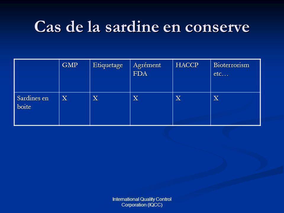 International Quality Control Corporation (IQCC) Cas de la sardine en conserve GMPEtiquetage Agrément FDA HACCP Bioterrorism etc… Sardines en boite XXXXX