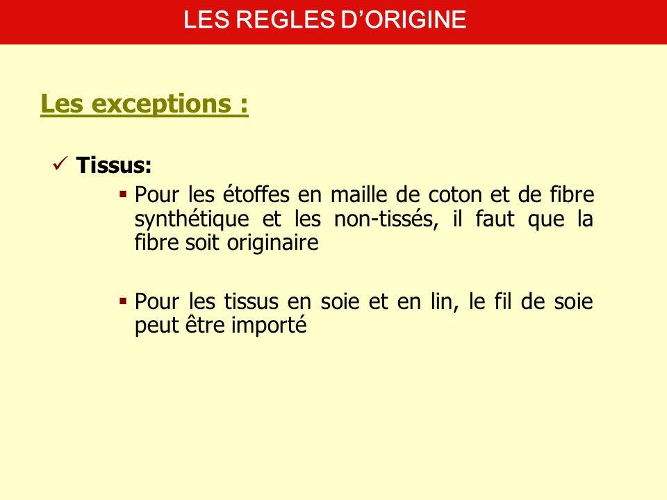 Tissus: Pour les étoffes en maille de coton et de fibre synthétique et les non-tissés, il faut que la fibre soit originaire Pour les tissus en soie et