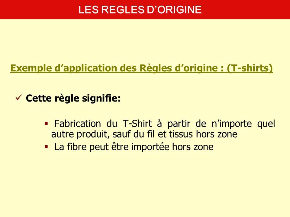 Cette règle signifie: Fabrication du T-Shirt à partir de nimporte quel autre produit, sauf du fil et tissus hors zone La fibre peut être importée hors