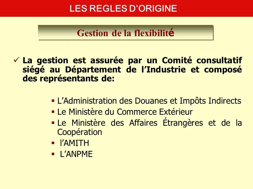 La gestion est assurée par un Comité consultatif siégé au Département de lIndustrie et composé des représentants de: LAdministration des Douanes et Im