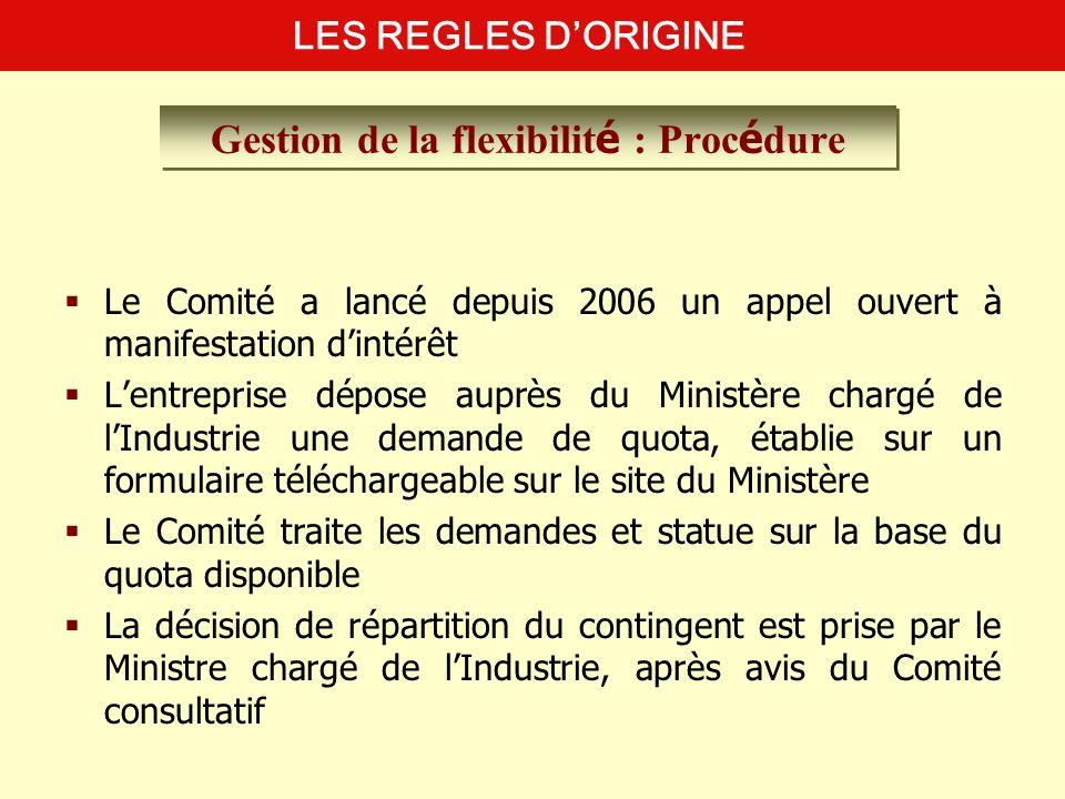 Le Comité a lancé depuis 2006 un appel ouvert à manifestation dintérêt Lentreprise dépose auprès du Ministère chargé de lIndustrie une demande de quot