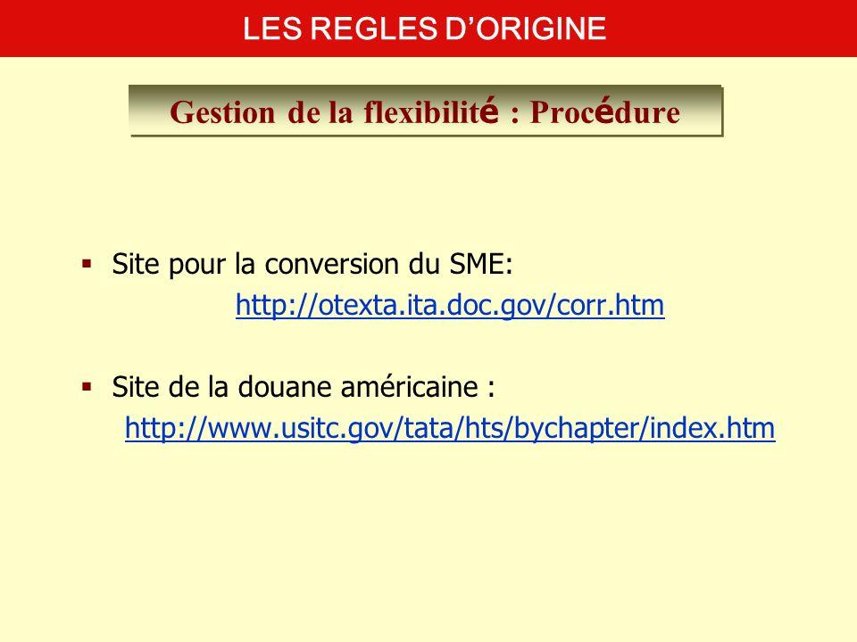Site pour la conversion du SME: http://otexta.ita.doc.gov/corr.htm Site de la douane américaine : http://www.usitc.gov/tata/hts/bychapter/index.htm LE